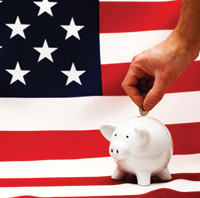 American flag & piggy bank